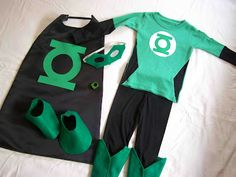 Halloween Costume: Boys Green Lantern... although the Green Lantern does NOT have a cape, silly, silly.