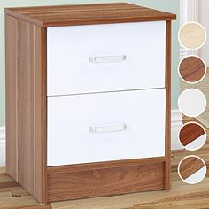 bae71c298d3b Miadomodo Bedside Table 2 Drawers Chest Bedroom Night Stand (Baltimor  wallnut-white) 37.5/37.5/49 cm: Amazon.co.uk: Kitchen & Home