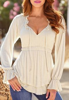Stylish Plunging Neck Long Flare Sleeve Solid Color Elastic Waist Women's Blouse