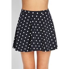Forever21 Polka Dot Skater Skirt ($4) ❤ liked on Polyvore featuring skirts, forever 21, polka dot skater skirt, flared skirt, polka dot circle skirt and skater skirt