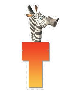 Zebra letter T letter Madagascar Party, Penguins Of Madagascar, Childrens Alphabet, Cute Alphabet, Carnival Birthday, 8th Birthday, Dreamworks Movies, Jungle Party, Letter T