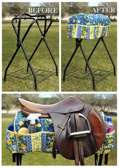 Saddle Rack Cover in Navy Blue with Dark by SalleighsEquineDesig