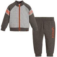 ARMANI NEWBORN Baby Boys Grey & Orange Tracksuit
