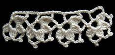 Crochet Borde 9 - AgaClip - Make Your Video Clips Crochet Boarders, Crochet Lace Edging, Crochet Trim, Filet Crochet, Irish Crochet, Crochet Flowers, Crochet Designs, Crochet Patterns, Crochet Cord