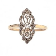Park City antique Victorian diamond navette ring from Trumpet & Horn