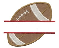 Split Football Applique - 3 Sizes! | Sports/Activities | Machine Embroidery Designs | SWAKembroidery.com