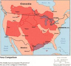 The Size of the Middle East Compared to the United States. More size comparison maps >>