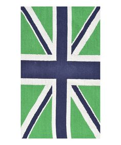Take a look at this Green & Navy Union Jack Rug on zulily today!