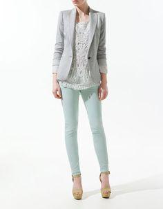 zara mint pant, lace top and light jacket