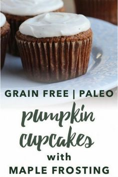 These paleo pumpkin cupcakes are fluffy lightly spiced and crowned with a maple-sweetened dairy free frosting. They are gluten-free grain-free refined sugar free and dairy free making them the perfect paleo dessert. Diet Desserts, Paleo Dessert, Gluten Free Desserts, Delicious Desserts, Dessert Recipes, Paleo Muffin Recipes, Free Recipes, Dairy Free Frosting, Maple Frosting