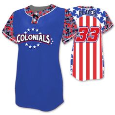 This is the Elite Only In America custom sublimated patriotic softball jersey made by Team Sports Planet.
