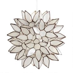 Handcrafted by skilled artisans in the Philippines, our exclusive pendant shade features white capiz seashells formed into a gorgeous flower ball. 3 Light Pendant, Drum Pendant, Pendant Chandelier, Hanging Pendants, Lantern Pendant, Pendant Lighting, House Lighting, Unique Lighting, Bedroom Lighting