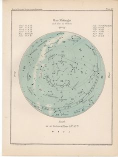 1910 may month rare celestial star map original antique astronomy print lithograph X gemini taurus. $40.00, via Etsy.