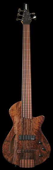 Veillette electric guitar Paris Bass - 5 piezo/magnetic, lined fretless, Walnut top