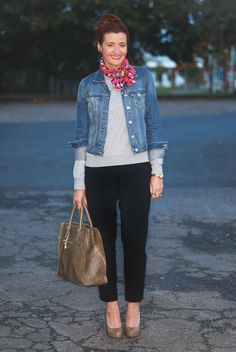 Casual Outfits for Women Over 40 | Not Dressed As Lamb - 40+ Style: Casual Grey/Tailored Black Contrast