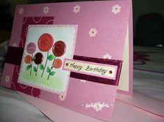 Flower Button Birthday Card