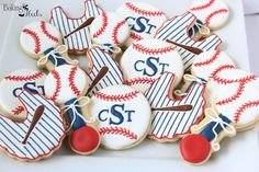 Baseball Themed Baby Shower Decorated Sugar Cookies, It's A Boy Decorated Cookies, Baby Bib Cookies, Baby Rattle Cookies, Baseball Cookies