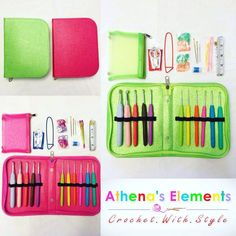 Black Friday Starts Now! 41-Pieces Crocheting Kit!!! Best Seller & Top Rated! Updated & Improved! And now with new color options you all have been waiting for! Pictures does not do justice on this Amazing Deluxe Kit! Includes: Crochet Case w/ Removable Pouch, 11-pcs Crochet Hooks, 20 Stitch Markers, Steel & Plastic Needles, Scissor, Pin, Row Counter, Measuring Tape!!! Click each product and see its color options.