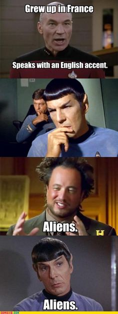 Ancient Aliens + Star Trek = Win  My son loves the guy from Ancient Aliens! I think it is the hair!