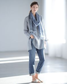Eileen Fisher Long Yarn-Dye Tunic, Hand-Dyed Modal/Silk Ombre Scarf & Stretch Boyfriend Jeans