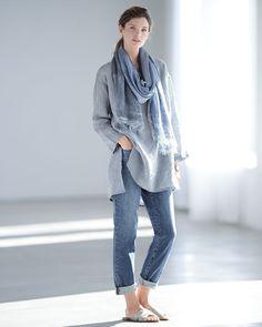 Eileen Fisher Long Yarn-Dye Tunic, Hand-Dyed Modal/Silk Ombre Scarf & Stretch Boyfriend Jeans