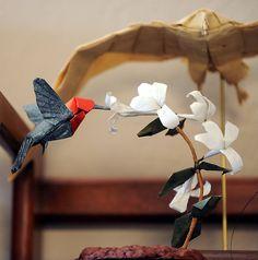 Origami hummingbird in flight.  Wow!