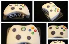Here it is! My Xbox 360 Controller Cake! The cake itself is a classic white cake with a layer of cream cheese icing and sliced peaches in th...