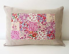 Raspberry Liberty of London Patchwork Pillow on by thestoryofkat, $35.00