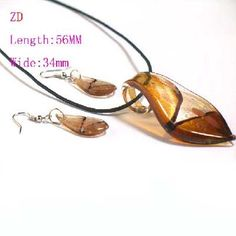 $3.99 Wow!!! Complete set! Murano Lampwork Glass Gold Leaf Necklace Earring