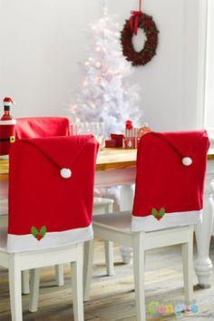 Pokrowiec na krzesło Czapka Mikołaja na święta Bożego Narodzenia - 1 szt.
