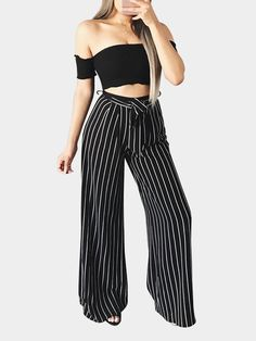 Black High-rise Flare Stripe Pants with Self-tie Waist