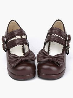 93a42fdd0550 Coffee Brown Lolita Chunky Heels Shoes Square Heels Ankle Straps Buckles Bow  Decor