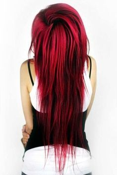 I SO wish I could do this! Red hair with black low-lights.