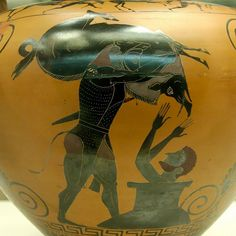 Eracle Eracle porta ad Euristeo il cinghiale di Erimando.  Anfora attica a figure nere. Da Vulci, 550 a.C. Londra, British Museum