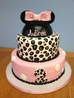 Leopard Minnie Mouse cake