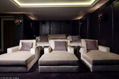 Individual armchairs is the seating arrangement of choice for home cinemas and mood light...