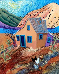 Chicken Scratch by Sally Bartos, New Mexico artist. Her work is available from bartos on Etsy.