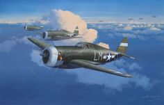 Razorback Ramrod  P-47C flown by Captain Eugene O'Neil of the 62nd FS, with other Thunderbolts of the 56th FG over France in 1943.