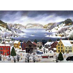 """Winter on Otsego Lake"" - Janet Munro Otsego Lake, Is 61, Lake Art, Sewing Art, American Country, Xmas Cards, Folk Art, History, Prints"