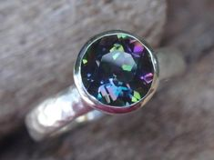 mystic topaz ring natural blue green topaz engagement ring solitaire or stackable ring gemstone ring stacking ring - made to order Handmade Engagement Rings, Gemstone Engagement Rings, Gemstone Rings, Green Topaz, Purple Amethyst, Blue Green, Topaz Gemstone, Topaz Ring, Gold Claddagh Ring