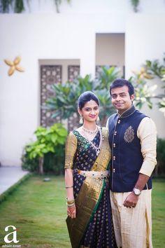Indian Groom Wear, Indian Bridal Wear, South Indian Bride, Engagement Saree, Engagement Dresses, Bridal Blouse Designs, Saree Blouse Designs, Blouse Patterns, Indian Dresses