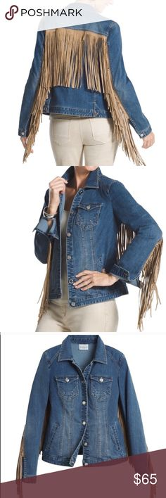Fringe Denim Jacket Great Condition. not 100% sure i want to sell but will for a good price. Super cute on and has a stretchy and comfortable denim material. Size small but fits me perfectly as a medium.  Lowball offers will be rejected. My boutique poshmark page: @gypsyla Chico's Jackets & Coats Jean Jackets