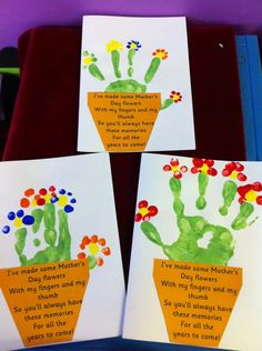 Mother's Day cards Children's handprint in green to make the base of the plant, then finger prints to make the petals.