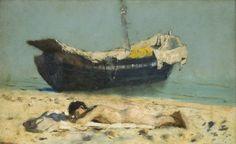 Francesco Paolo Michetti. Nudo disteso sulla spiaggia.