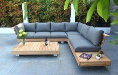 How to Build a DIY Outdoor Sofa – Love & Renovations Garden Furniture Design, Wooden Garden Furniture, Outdoor Garden Furniture, Rustic Furniture, Antique Furniture, Furniture Layout, Furniture Dolly, Furniture Outlet, Discount Furniture