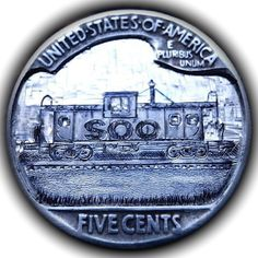 TOM MAHER HOBO NICKEL - SOO LINE CABOOSE #4 - 1937 BUFFALO NICKEL REVERSE CARVING Hobo Nickel, Coin Art, Old Coins, Sculpture Art, Buffalo, Folk, Carving, Paper, Coins