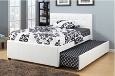 New White Bycast Leather Twin Size Platform Bed with Twin Trundle *Includes Mattress Supports for Upper Twin Bed & Twin Trundle *Boxspring not required *Bottom Twin Size Trundle Bed provides additional sleeping space Queen Trundle Bed, Full Size Trundle Bed, Pop Up Trundle Bed, Trundle Beds, Twin Beds, Twin Twin, Full Platform Bed, Upholstered Platform Bed, Bunk Bed Designs