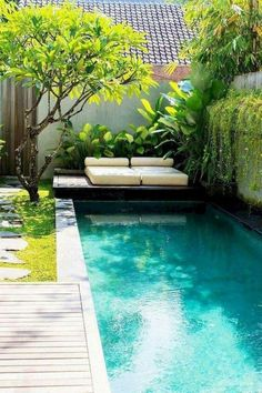 46 Attractive Small Pool Backyard Designs Ideas To Inspire You pool landscaping 46 Attractive Small Pool Backyard Designs Ideas To Inspire You Small Swimming Pools, Small Pools, Swimming Pools Backyard, Swimming Pool Designs, Lap Pools, Backyard Ideas For Small Yards, Small Backyard Pools, Outdoor Pool, Small Pool Ideas