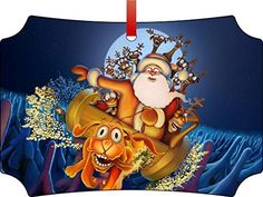 Cute Santa Riding a Dog ParodyBerlin Aluminum Christmas Ornament with a Red Satin RibbonHoliday Hanging Tree OrnamentDoubleSided DecorationGreat Unisex Holiday Gift * You can get more details by clicking on the image.