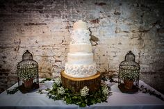 A Bespoke Gown for a Country Cedding at Calke Abbey. Rustic style wedding cake.   Image by James Tracey Photography.  Read more: http://bridesupnorth.com/2015/10/19/simply-splendid-a-bespoke-gown-for-a-country-wedding-at-calke-abbey-jane-lee/